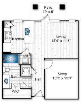 597 sq. ft. A floor plan