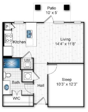 597 sq. ft. A floor plan