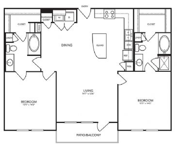 1,201 sq. ft. B8 floor plan
