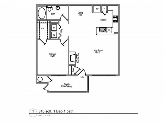 810 sq. ft. Barbados floor plan