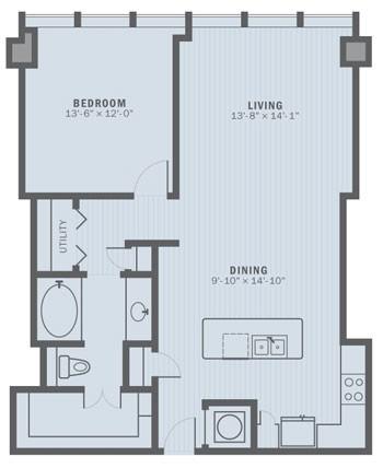 957 sq. ft. A5 floor plan