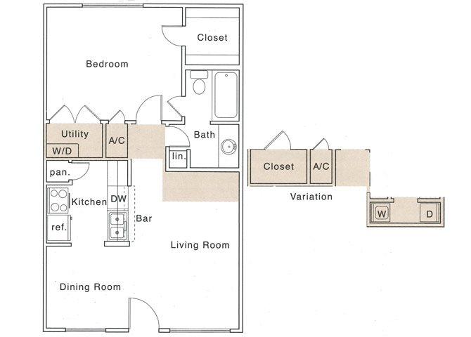658 sq. ft. A floor plan