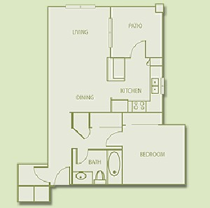692 sq. ft. A2 floor plan