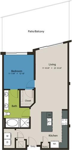 898 sq. ft. A14 floor plan
