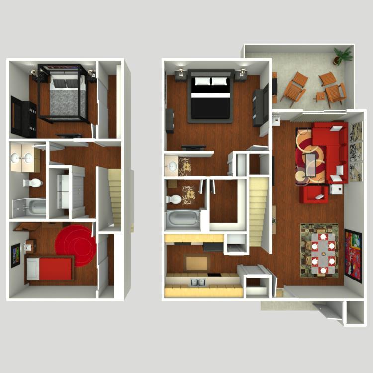 1,300 sq. ft. C3 floor plan