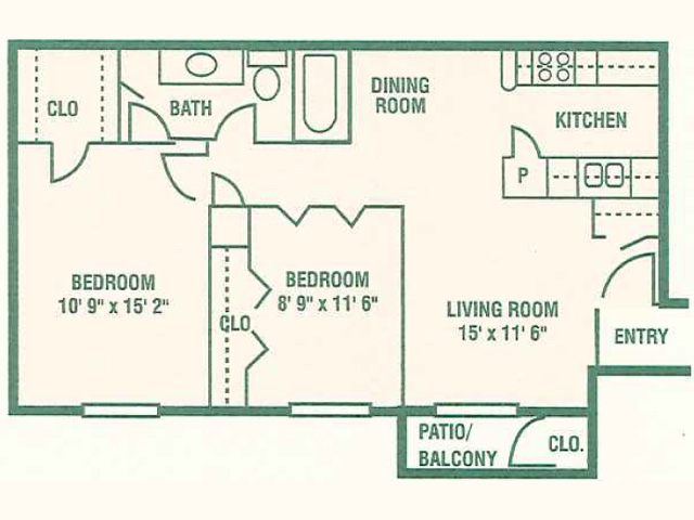 804 sq. ft. 60% floor plan