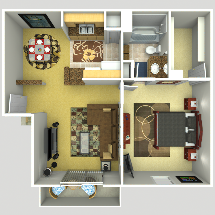 710 sq. ft. D floor plan