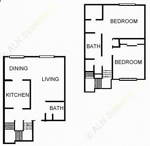 1,132 sq. ft. 2-TH floor plan