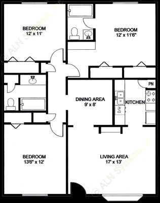 1,140 sq. ft. C1 floor plan