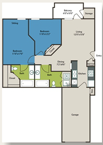 897 sq. ft. 2 w/Gar floor plan