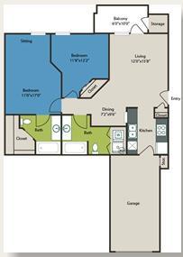 897 sq. ft. Pearl floor plan