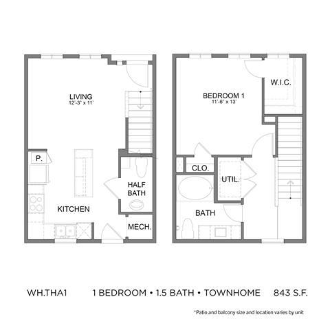 843 sq. ft. THA1 floor plan