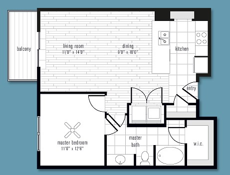 787 sq. ft. to 911 sq. ft. T floor plan
