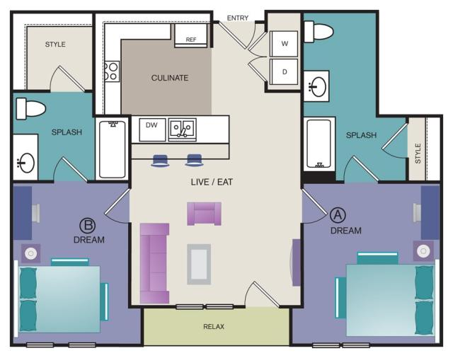897 sq. ft. B6 floor plan