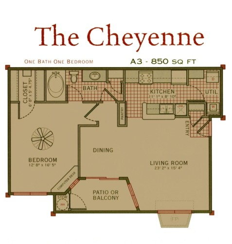 850 sq. ft. Cheyenne floor plan