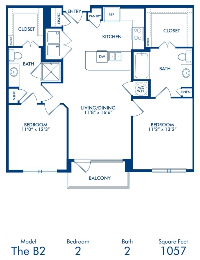 1,057 sq. ft. B2 floor plan