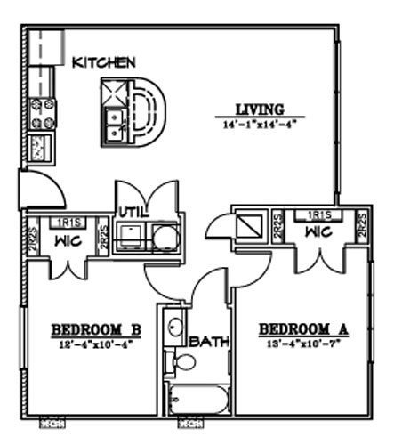 834 sq. ft. B4A floor plan