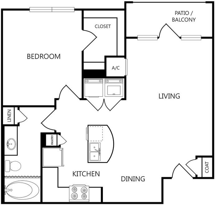 711 sq. ft. A1 floor plan