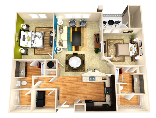1,196 sq. ft. Achieve floor plan