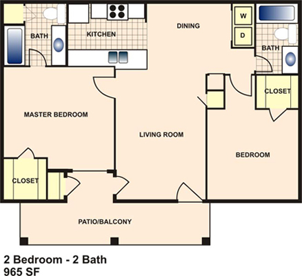 965 sq. ft. E floor plan