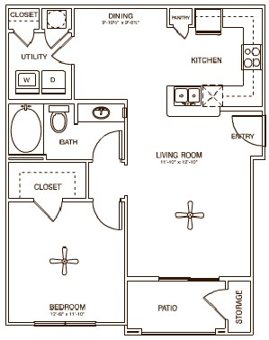 752 sq. ft. Station floor plan