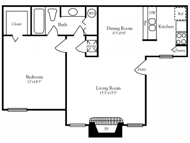715 sq. ft. A1Y floor plan