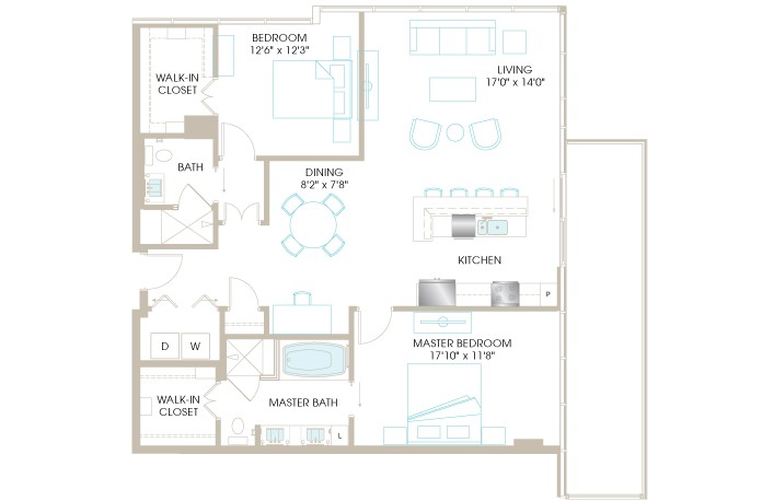 1,425 sq. ft. C8aP floor plan