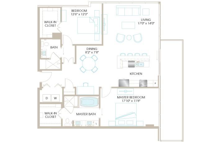1,425 sq. ft. C8aP floor plan