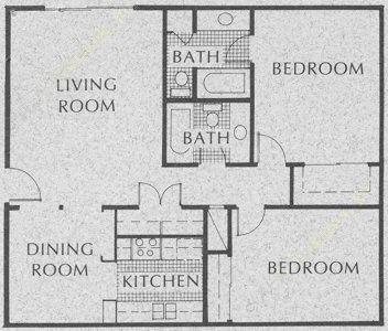 990 sq. ft. C1 floor plan