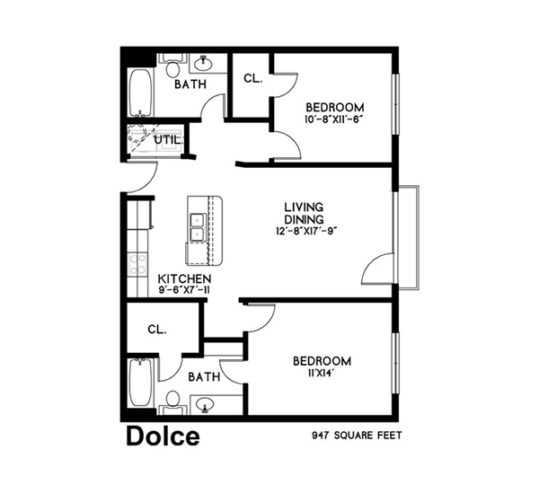 947 sq. ft. Dolco floor plan