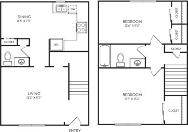 972 sq. ft. B2 floor plan