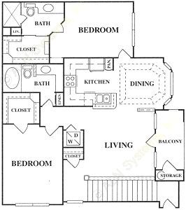 1,167 sq. ft. C1-S floor plan