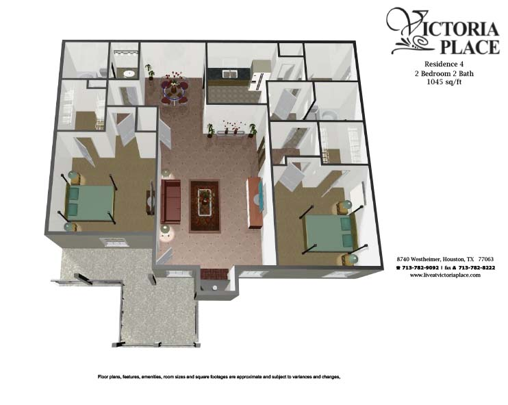 1,045 sq. ft. B2 floor plan