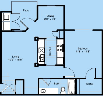 734 sq. ft. A2-Descanso floor plan