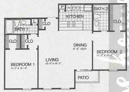 996 sq. ft. B2 floor plan
