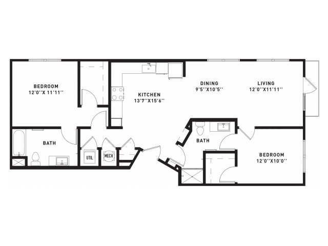 1,128 sq. ft. B5 floor plan