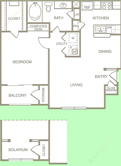 671 sq. ft. to 725 sq. ft. Charreada floor plan