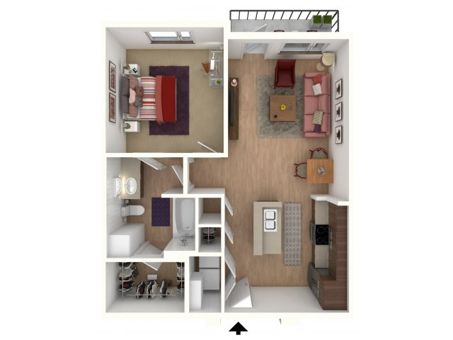 664 sq. ft. A2 Furnished floor plan