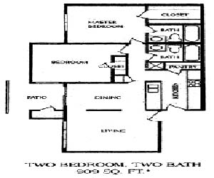 909 sq. ft. 2BB floor plan