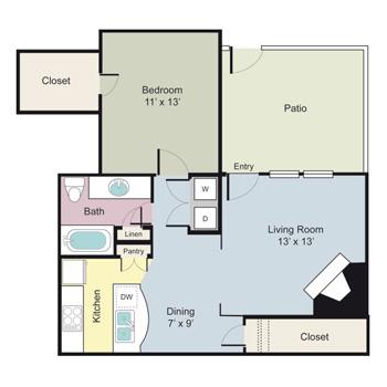 730 sq. ft. A1ER floor plan