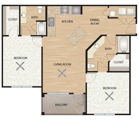 1,100 sq. ft. B2/Primrose floor plan