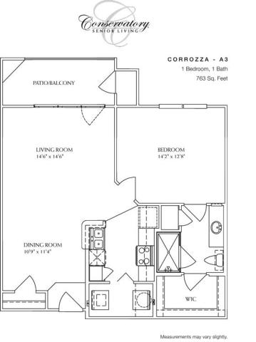 763 sq. ft. Corrozza floor plan