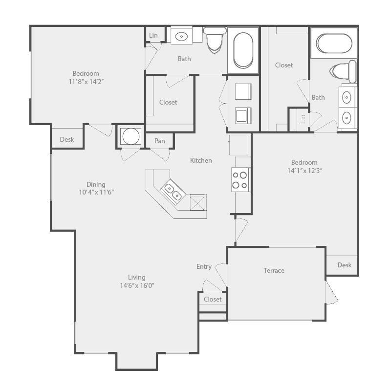 1,262 sq. ft. Trinity floor plan