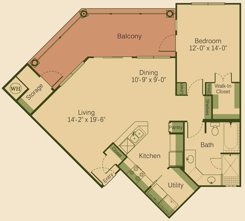 918 sq. ft. 1C floor plan
