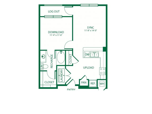 654 sq. ft. A1A Carrier floor plan