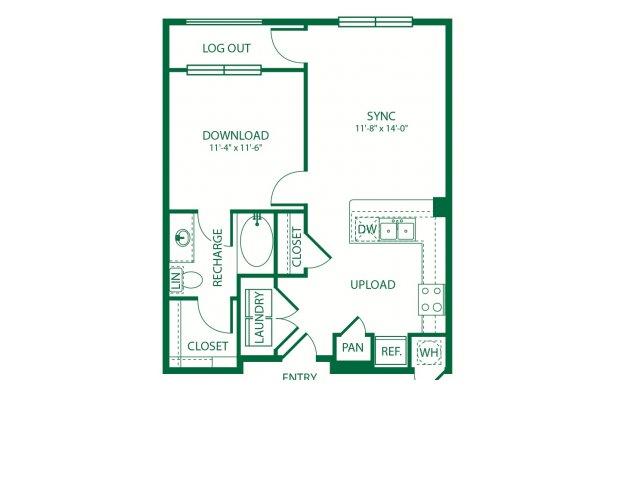 654 sq. ft. A1B Carrier floor plan