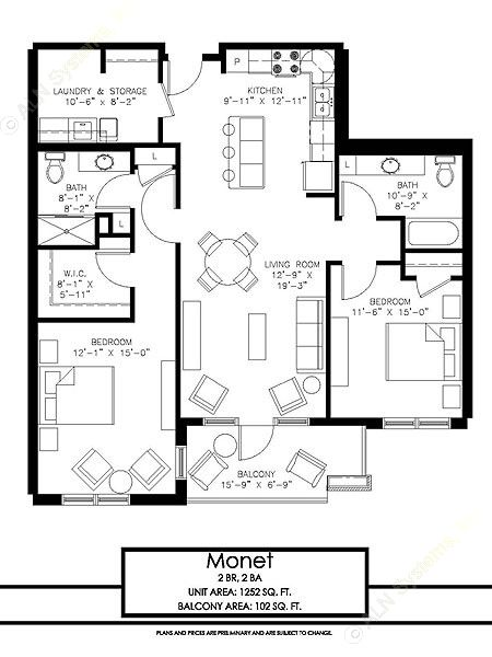1,252 sq. ft. Monet floor plan