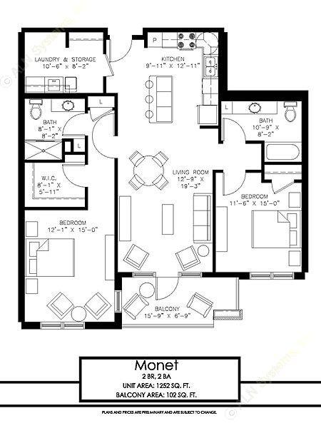 1,252 sq. ft. Monet floor plan