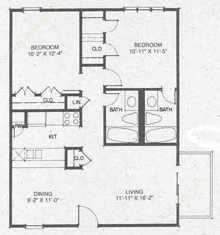 901 sq. ft. B2 floor plan