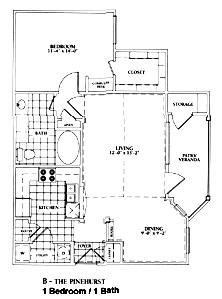 790 sq. ft. B-Pinehurst Mkt floor plan